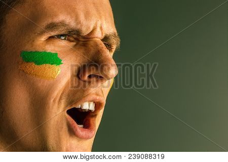 Portrait Of A Man With The Flag Of The Brazil Painted On Him Face. Young Male Caucasian Model Closeu