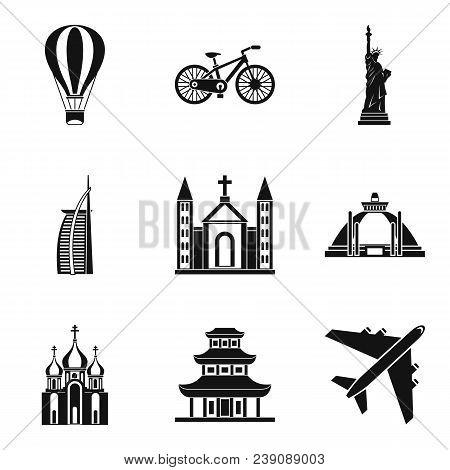 Movement Around The World Icons Set. Simple Set Of 9 Movement Around The World Vector Icons For Web
