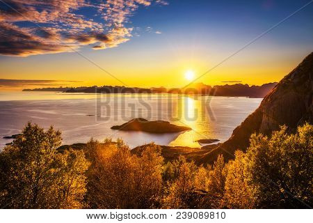 Sunset Over The Mountains And The Sea Of Lofoten Islands In Norway Seen From The Trail To The Festva