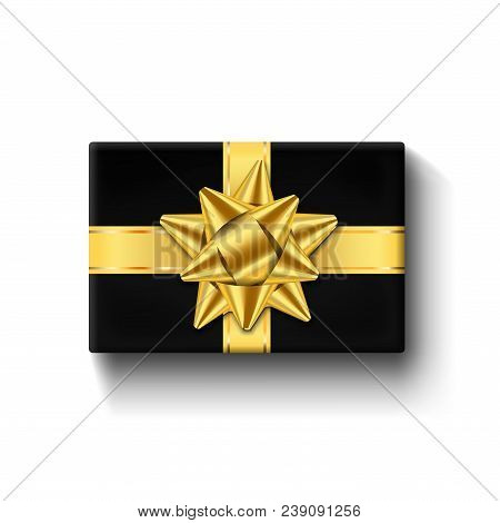 Gift Box 3d Top View, Gold Ribbon Bow. Isolated White Background. Decoration Present Black Gift Box