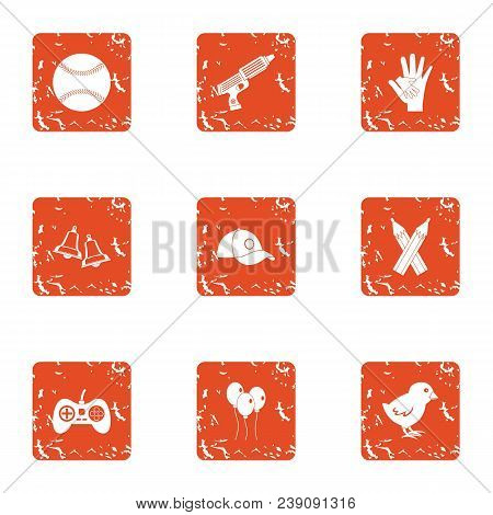 Play Peace Icons Set. Grunge Set Of 9 Play Peace Vector Icons For Web Isolated On White Background