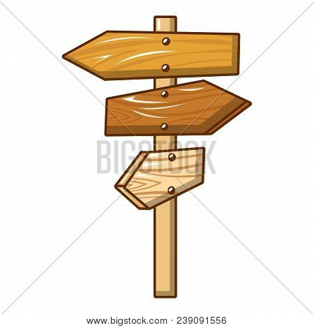 All Direction Wood Sign Icon. Cartoon Of All Direction Wood Sign Vector Icon For Web Design Isolated