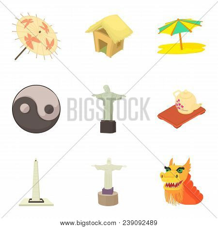 Global History Icons Set. Cartoon Set Of 9 Global History Vector Icons For Web Isolated On White Bac