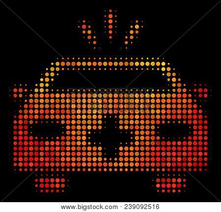 Pixel Emergency Car Icon. Bright Pictogram In Orange Color Variations On A Black Background. Vector