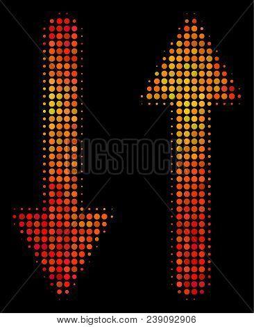 Dot Exchange Arrows Icon. Bright Pictogram In Hot Color Tones On A Black Background. Vector Halftone