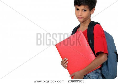 Unhappy boy on the first day of school