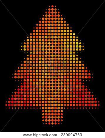 Dotted Fir-tree Icon. Bright Pictogram In Fire Orange Color Hues On A Black Background. Vector Halft