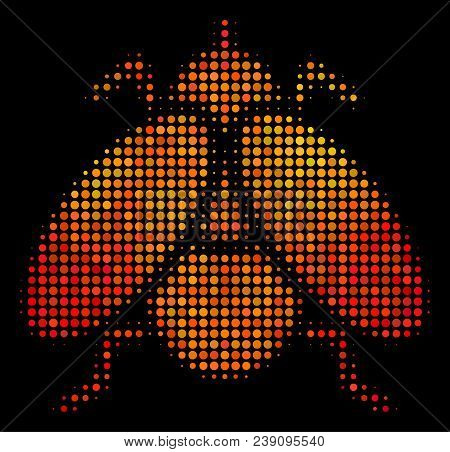 Dotted Fly Insect Icon. Bright Pictogram In Hot Color Tones On A Black Background. Vector Halftone C