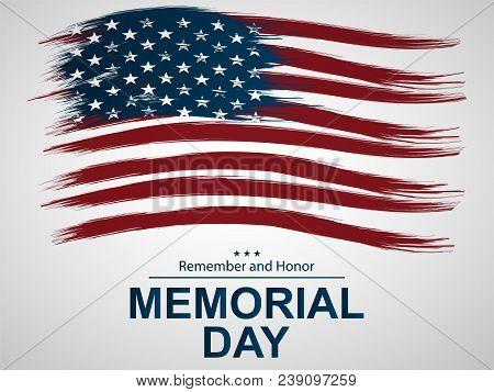 Illustration For Memorial Day.  Illustration With U.s. Flag.