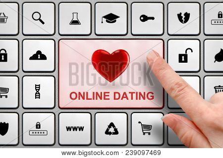 Online Dating Concept, Girl's Finger Above The Big Button On The Keyboard
