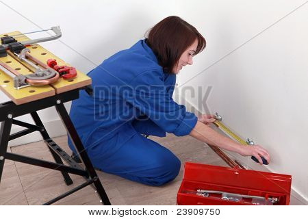 Handywoman at work.