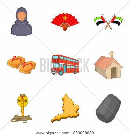 Religious Peace Icons Set. Cartoon Set Of 9 Religious Peace Vector Icons For Web Isolated On White B
