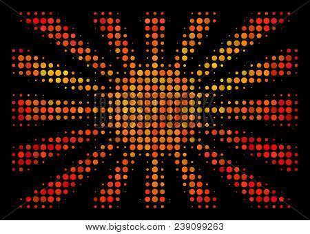 Pixelated Japanese Rising Sun Icon. Bright Pictogram In Hot Color Variations On A Black Background.