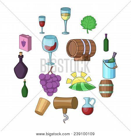 Wine Yard Icons Set. Cartoon Illustration Of 16 Wine Yard Vector Icons For Web