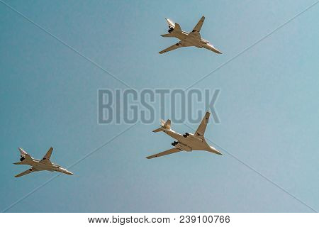 Moscow, Russia - May 04, 2018: Tupoloev Tu-160 And Tupolev Tu-22m-3 Strategic Bombers Of Russian Air
