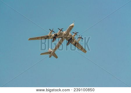 Moscow, Russia - May 04, 2018: Russian Strategic Bomber Tupolev Tu-95 During Victory Day Parade Rehe