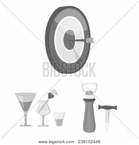 Pub, Interior And Equipment Monochrome Icons In Set Collection For Design. Alcohol And Food Vector S