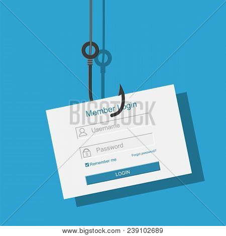 Login Into Account And Fishing Hook. Internet Phishing, Hacked Login And Password. Computer Netwrok