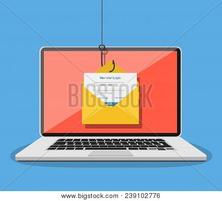 Login Into Account In Email Envelope And Fishing Hook. Internet Phishing, Hacked Login And Password.