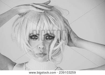 Girl With Smokey Eyes, Makeup Face. Woman Wear Pink Wig Hair On Rosy Background. Fashion, Style, Vis