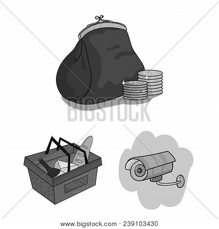 Supermarket And Equipment Monochrome Icons In Set Collection For Design. Purchase Of Products Vector