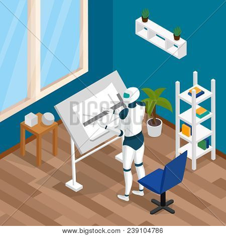 Artificial Intelligence Ai Professions Isometric Composition With Creative Artist Designer Robot Wor