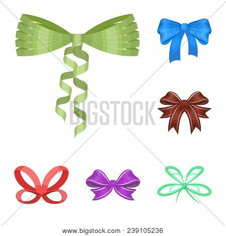 Multicolored Bows Cartoon Icons In Set Collection For Design.bow For Decoration Vector Symbol Stock