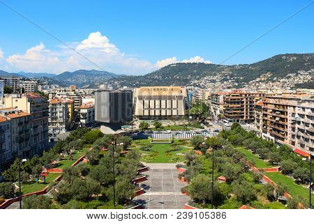 Nice, France - June 23, 2016: Promenade Des Arts And Acropolic Center Of Congresses And Exhibitions