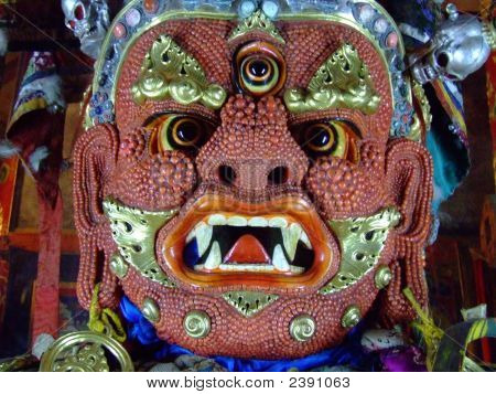 Scary Red Mongolian Ongghot Mask In The 'Ulaanbaatar Monastery Museum Of Choijin Lama'