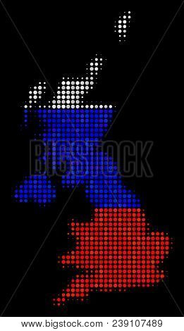 Halftone Dot United Kingdom Map. Vector Geographical Map In Russia Official Flag Colors On A Dark Ba