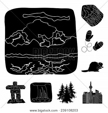 Country Canada Black Icons In Set Collection For Design. Canada And Landmark Vector Symbol Stock  Il