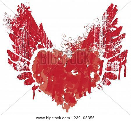 Vector Red Graphic Abstract Illustration Of Heart With Wings With Ink Blots, Drops. Bloody Heart And