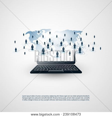 Networks - Business Connections - Abstract Cloud Computing And Global Network Connections Concept De