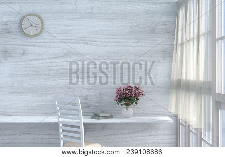 Grey-white Living Room Decor With Cream-white Chair, Wall Clock, White Wood Wall, Window, Table, Gre