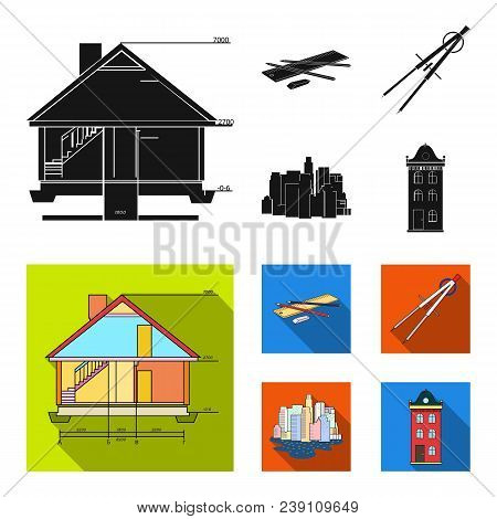 Drawing Accessories, Metropolis, House Model. Architecture Set Collection Icons In Black, Flat Style
