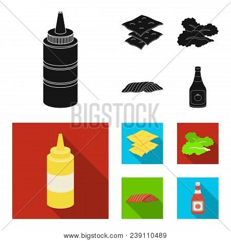 Burger And Ingredients Black, Flat Icons In Set Collection For Design. Burger Cooking Vector Symbol