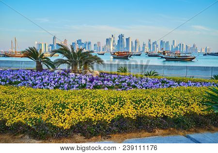 Corniche Promenade Is Perfectly Decorated With Beautiful Flower Beds, Tiny Palms And Trimmed Bushes,