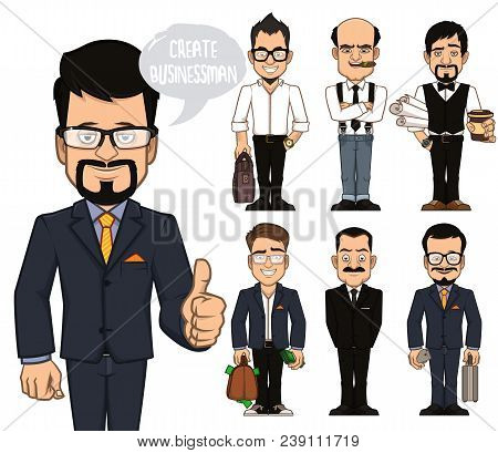 A Set Of Characters Of Businessmen. You Can Use Ready Made Characters. Or You Can Combine Parts Of T