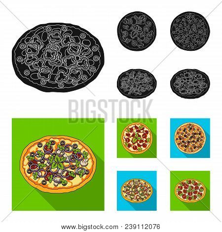 Pizza With Meat, Cheese And Other Filling. Different Pizza Set Collection Icons In Black, Flat Style