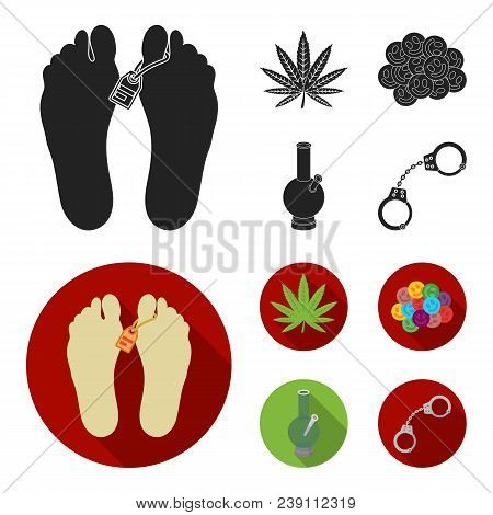 Hemp Leaf, Ecstasy Pill, Handcuffs, Bong.drug Set Collection Icons In Black, Flat Style Vector Symbo