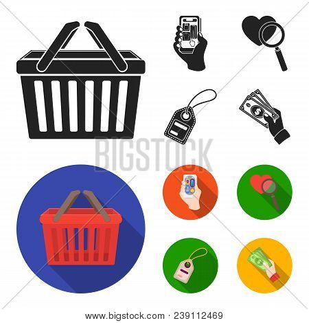 Hand, Mobile Phone, Online Store And Other Equipment. E Commerce Set Collection Icons In Black, Flat
