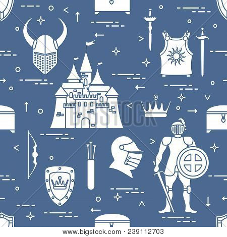 Seamless Pattern With Knight, Castle, Shields, Swords, Cuirass, Helmet, Crown, Treasure Chest, Bow,