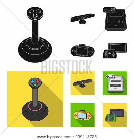 Game And Tv Set-top Box Black, Flat Icons In Set Collection For Design.game Gadgets Vector Symbol St