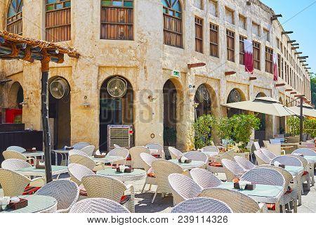 The Nice Open Air Terrace Of The Restaurant In Historical Neighborhood Of Souq Waqif, Doha, Qatar.