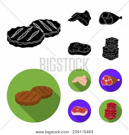Chicken Wings, Ham, Raw Steak, Beef Cubes. Meat Set Collection Icons In Black, Flat Style Vector Sym