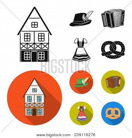 Tyrolean Hat, Accordion, Dress, Pretzel. Oktoberfestset Collection Icons In Black, Flat Style Vector