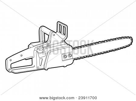 vector outline chainsaw on white background