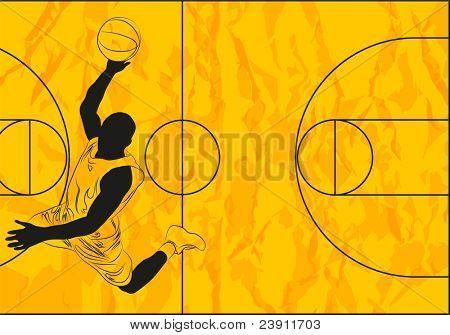 Vector basketball player on orange background (illustration)