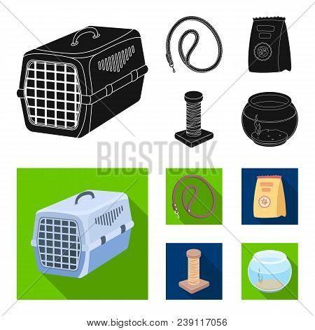 Leash, Feed And Other Zoo Store Products.pet Shop Set Collection Icons In Black, Flat Style Vector S