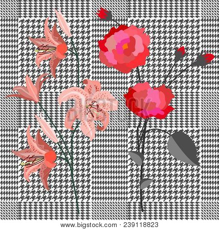 Seamless Hounds Tooth Pattern With English Motifs. Textile Design For School Uniform, Plaids, Scarfs